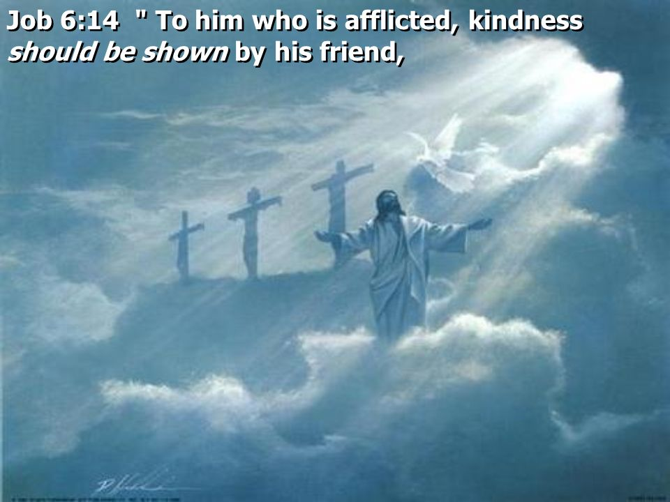 Job 6:14 To him who is afflicted, kindness should be shown by his friend,