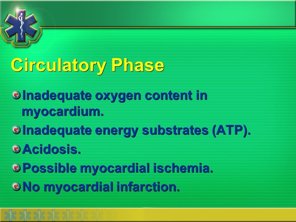 Circulatory Phase Inadequate oxygen content in myocardium.