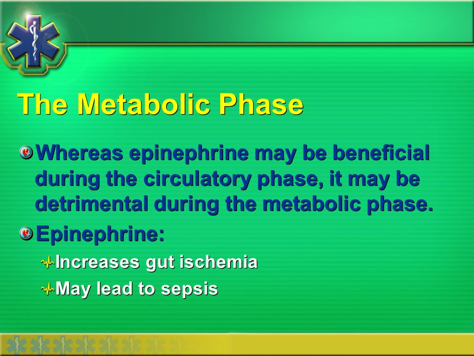 The Metabolic Phase Whereas epinephrine may be beneficial during the circulatory phase, it may be detrimental during the metabolic phase.