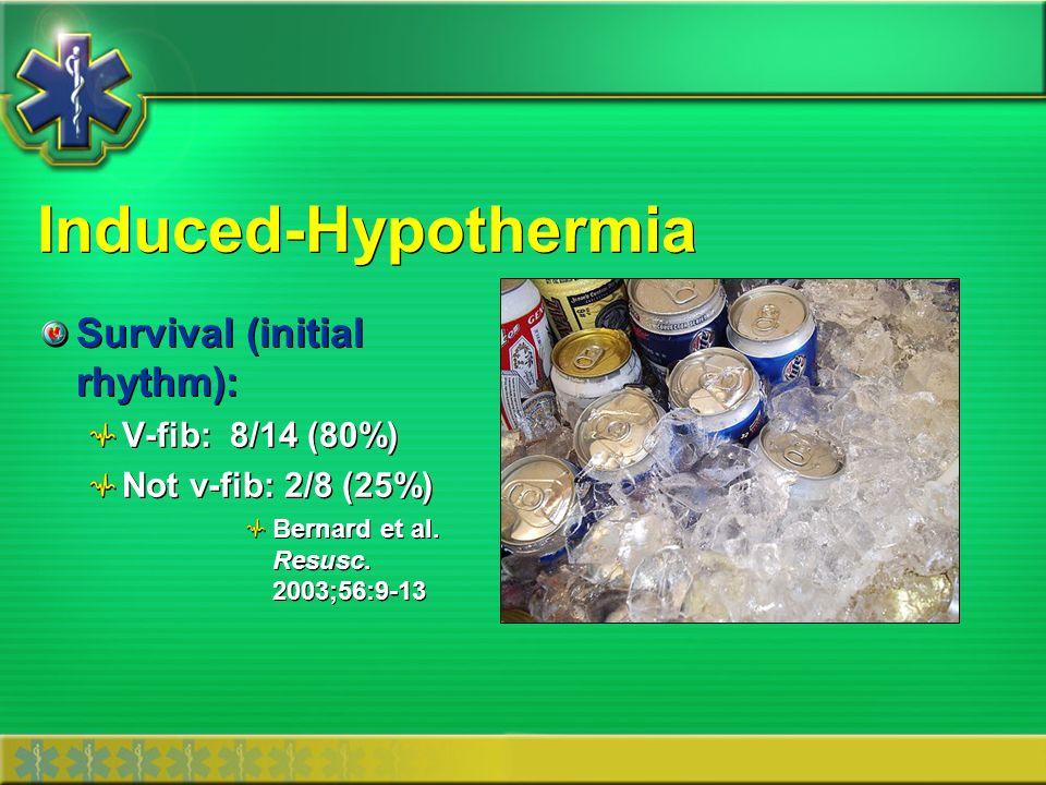 Induced-Hypothermia Survival (initial rhythm): V-fib: 8/14 (80%)