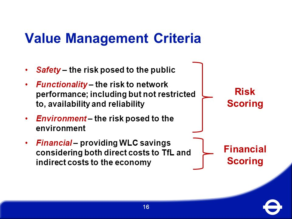 Value Management Criteria