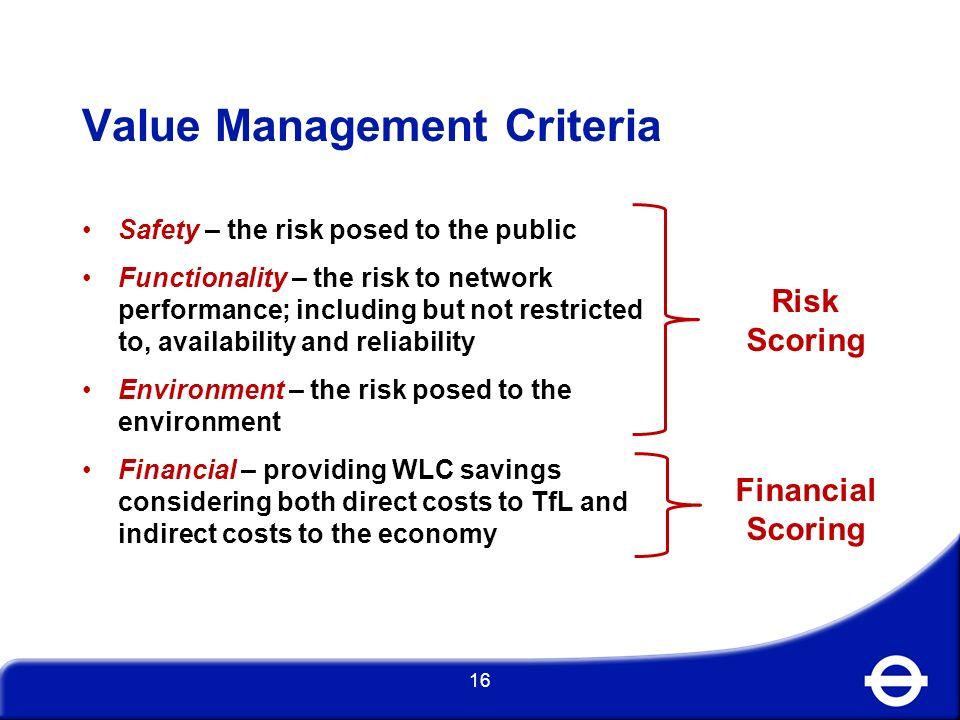 Value Management Criteria