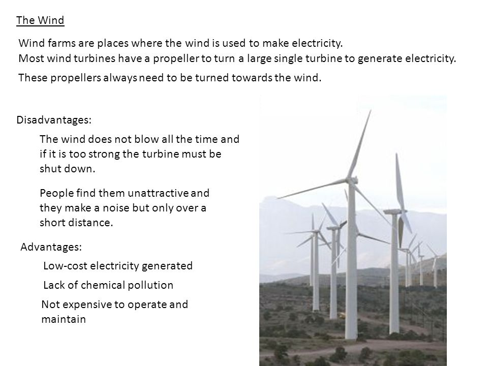 The Wind Wind farms are places where the wind is used to make electricity.