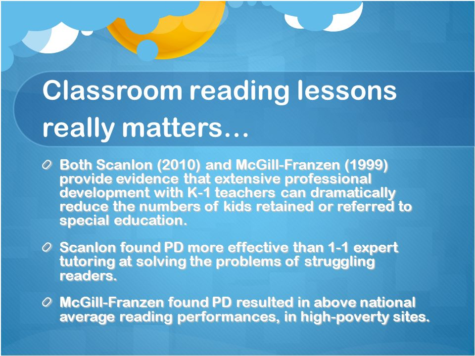 Classroom reading lessons really matters…