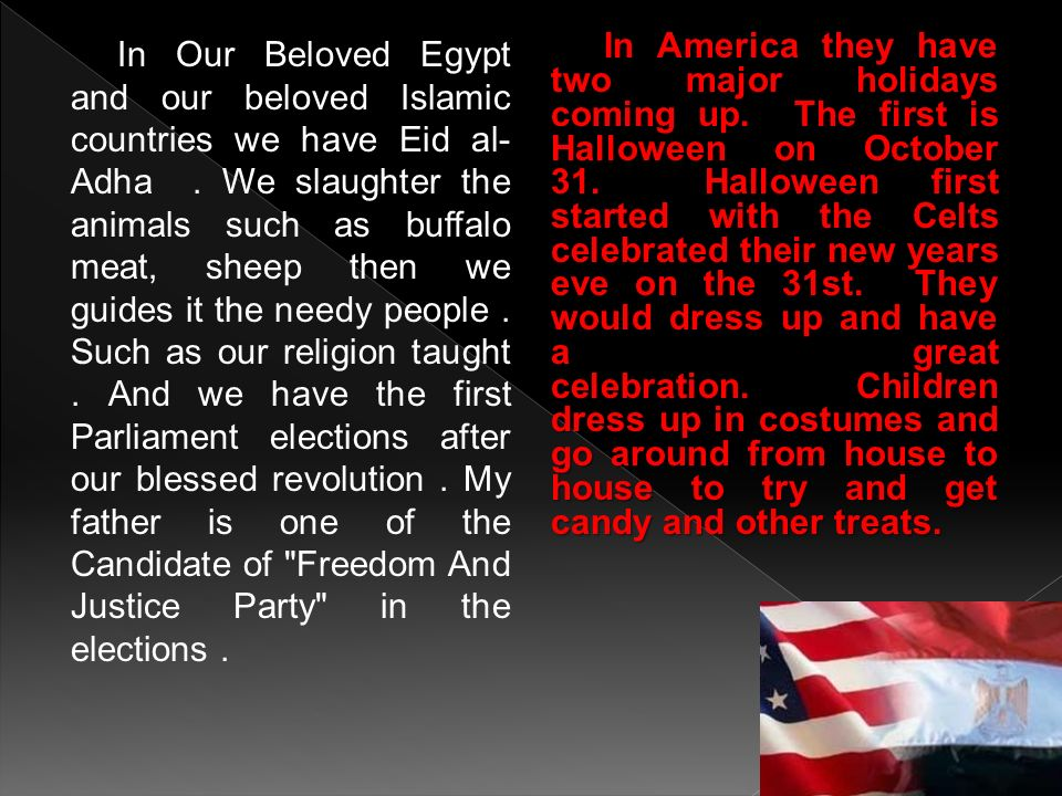 In Our Beloved Egypt and our beloved Islamic countries we have Eid al-Adha . We slaughter the animals such as buffalo meat, sheep then we guides it the needy people . Such as our religion taught . And we have the first Parliament elections after our blessed revolution . My father is one of the Candidate of Freedom And Justice Party in the elections .