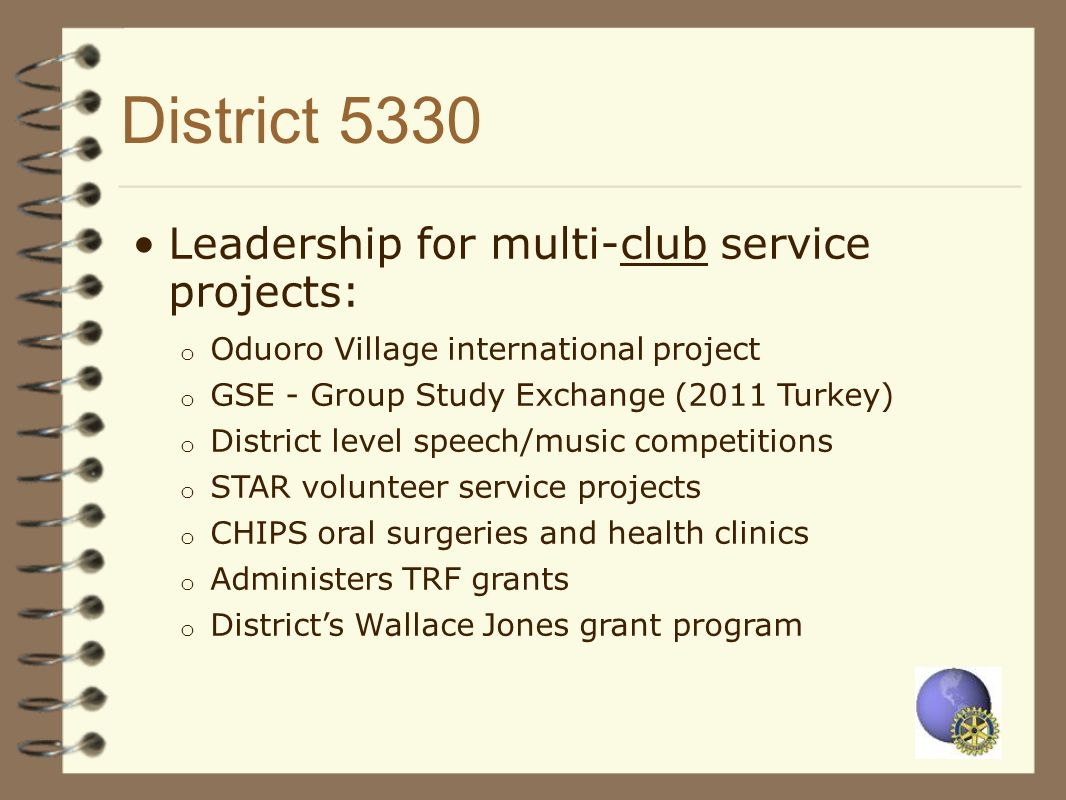 District 5330 Leadership for multi-club service projects: