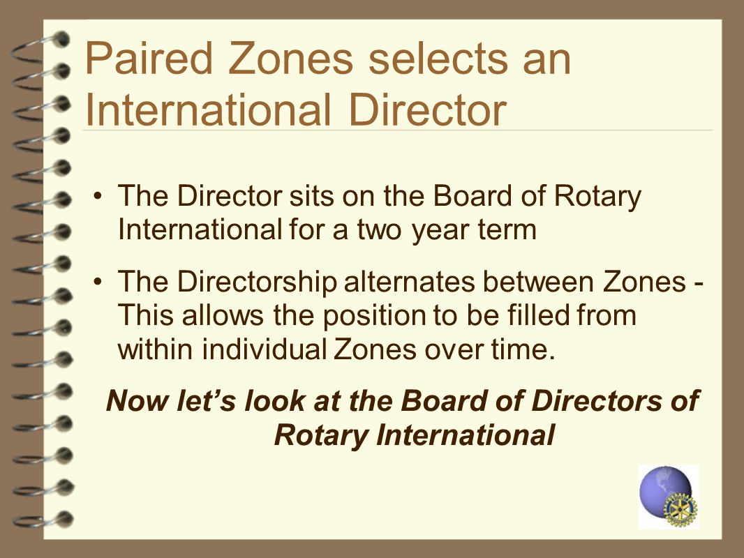 Paired Zones selects an International Director