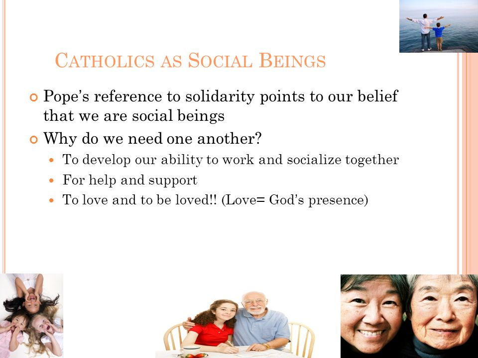 Catholics as Social Beings