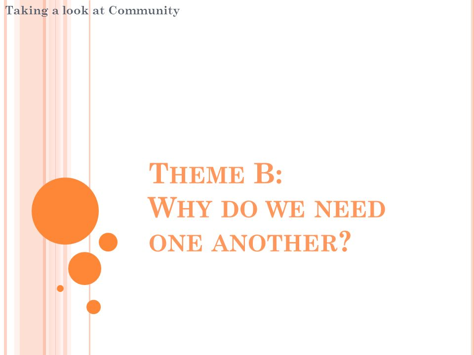 Theme B: Why do we need one another