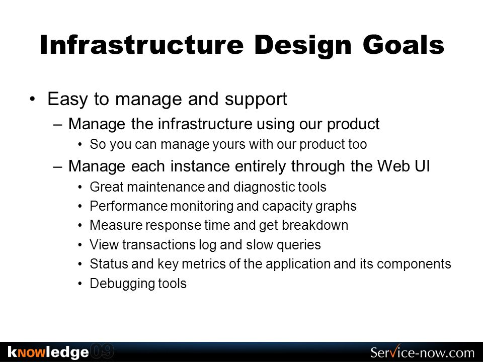 Infrastructure Design Goals