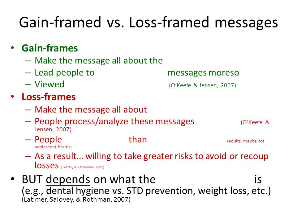 Gain-framed vs. Loss-framed messages