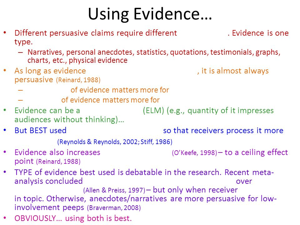 Using Evidence… Different persuasive claims require different . Evidence is one type.