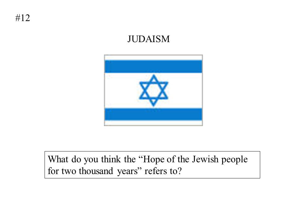 #12 JUDAISM What do you think the Hope of the Jewish people for two thousand years refers to