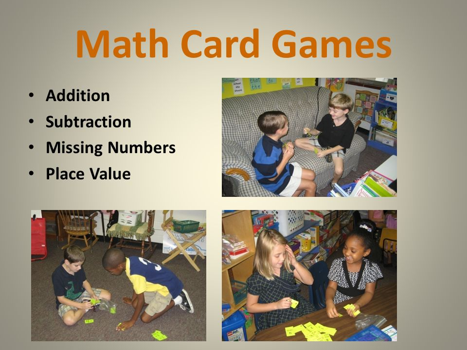 Math Card Games Addition Subtraction Missing Numbers Place Value