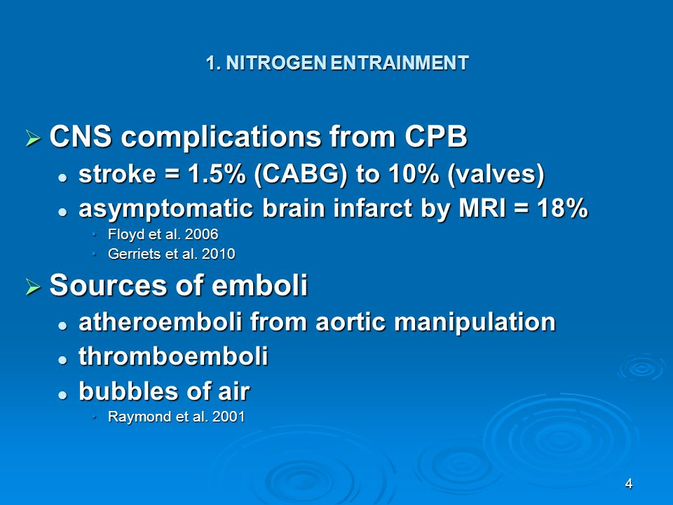CNS complications from CPB