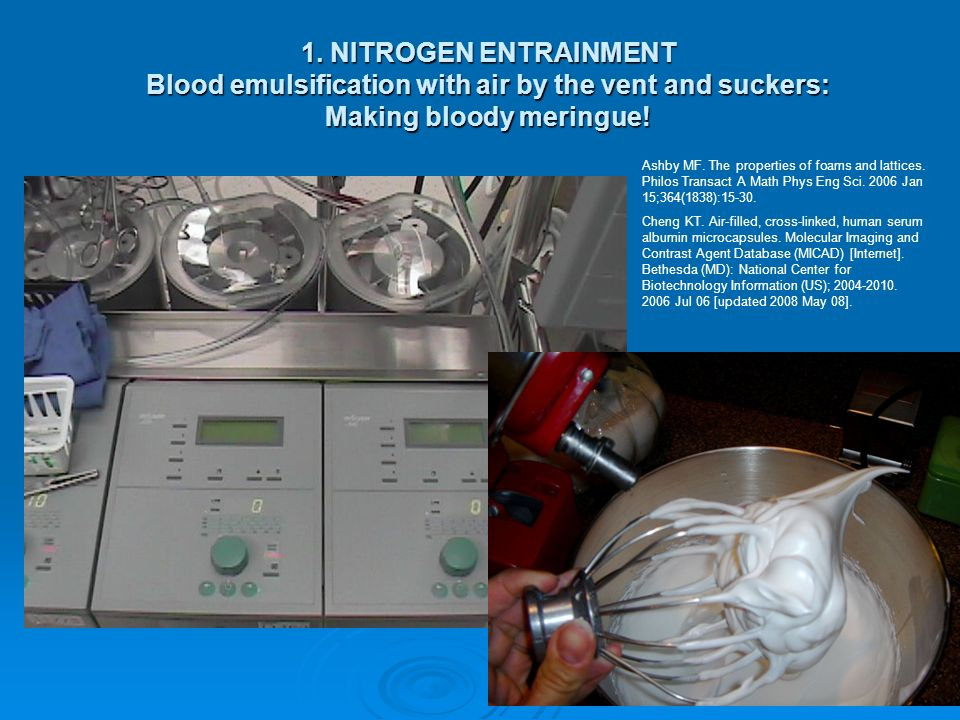 1. NITROGEN ENTRAINMENT Blood emulsification with air by the vent and suckers: Making bloody meringue!