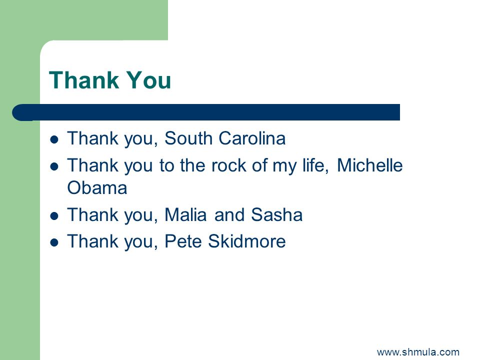 Thank You Thank you, South Carolina