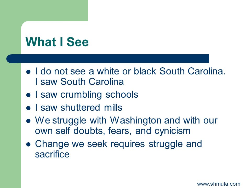 What I SeeI do not see a white or black South Carolina. I saw South Carolina. I saw crumbling schools.
