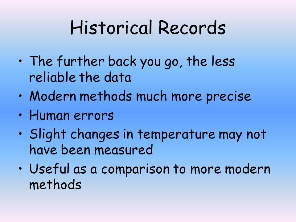 Historical Records The further back you go, the less reliable the data