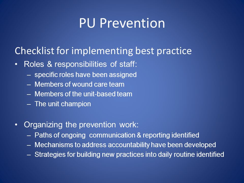 PU Prevention Checklist for implementing best practice