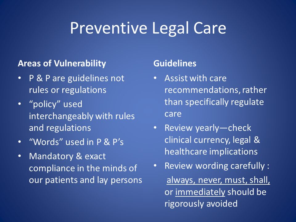 Preventive Legal Care Areas of Vulnerability Guidelines