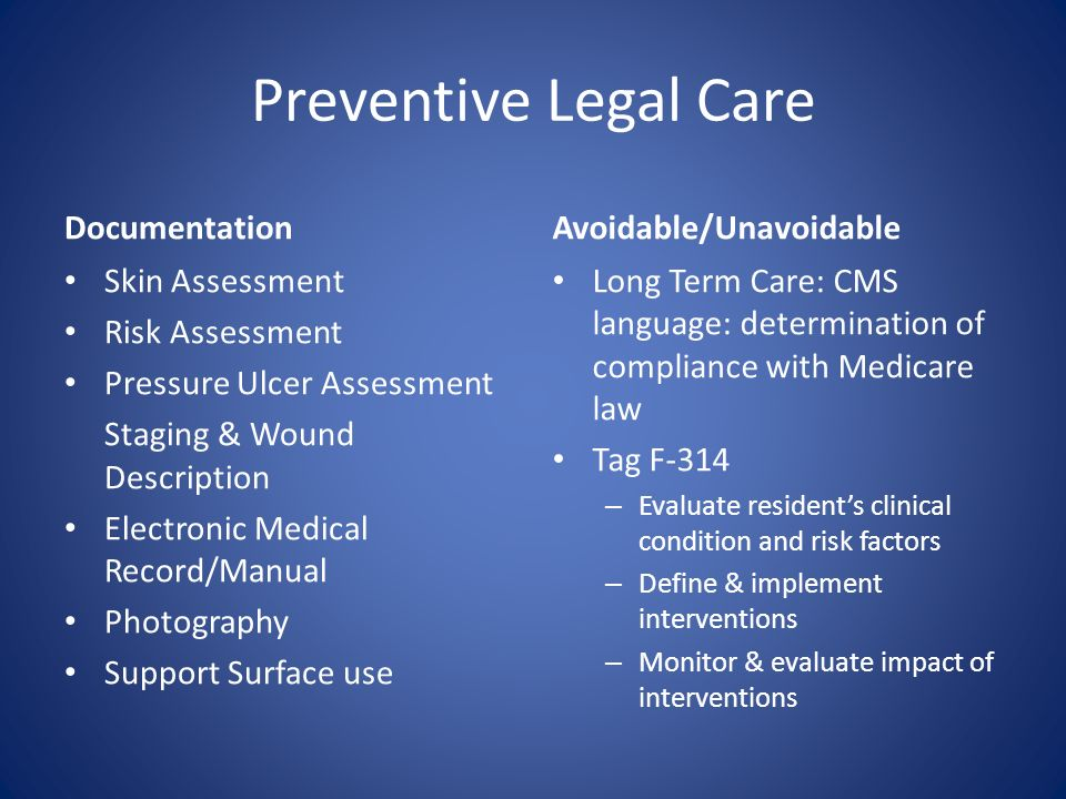Preventive Legal Care Documentation Avoidable/Unavoidable