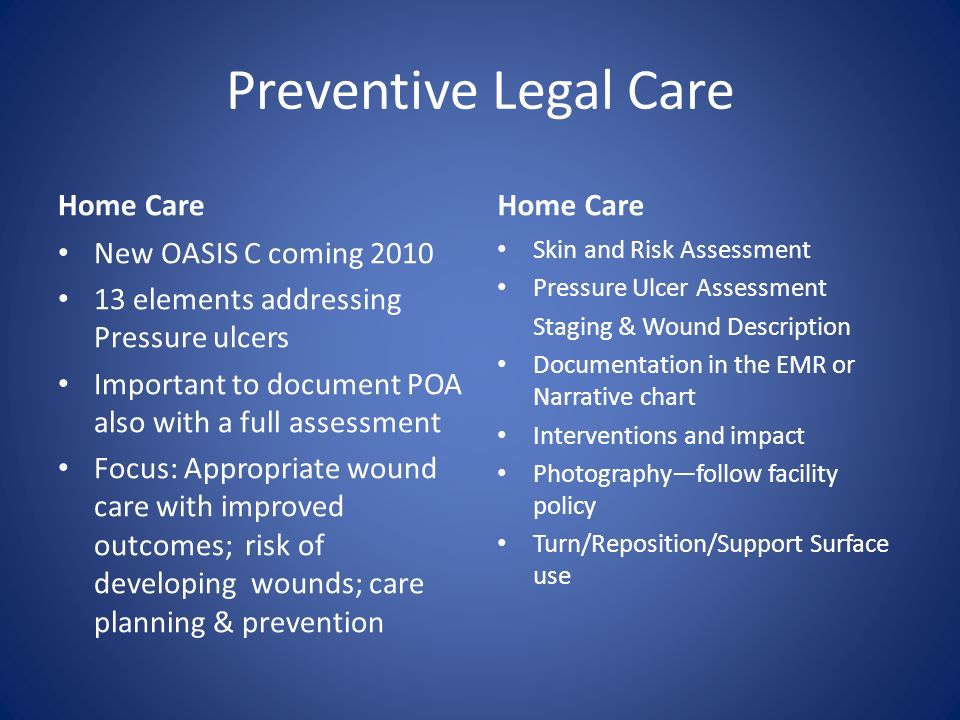 Preventive Legal Care Home Care Home Care New OASIS C coming 2010