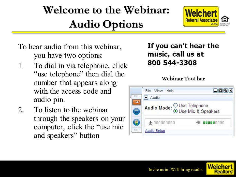 Welcome to the Webinar: Audio Options