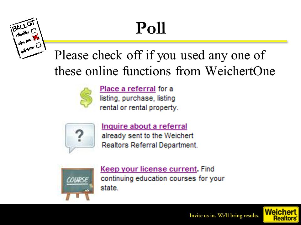 Poll Please check off if you used any one of these online functions from WeichertOne