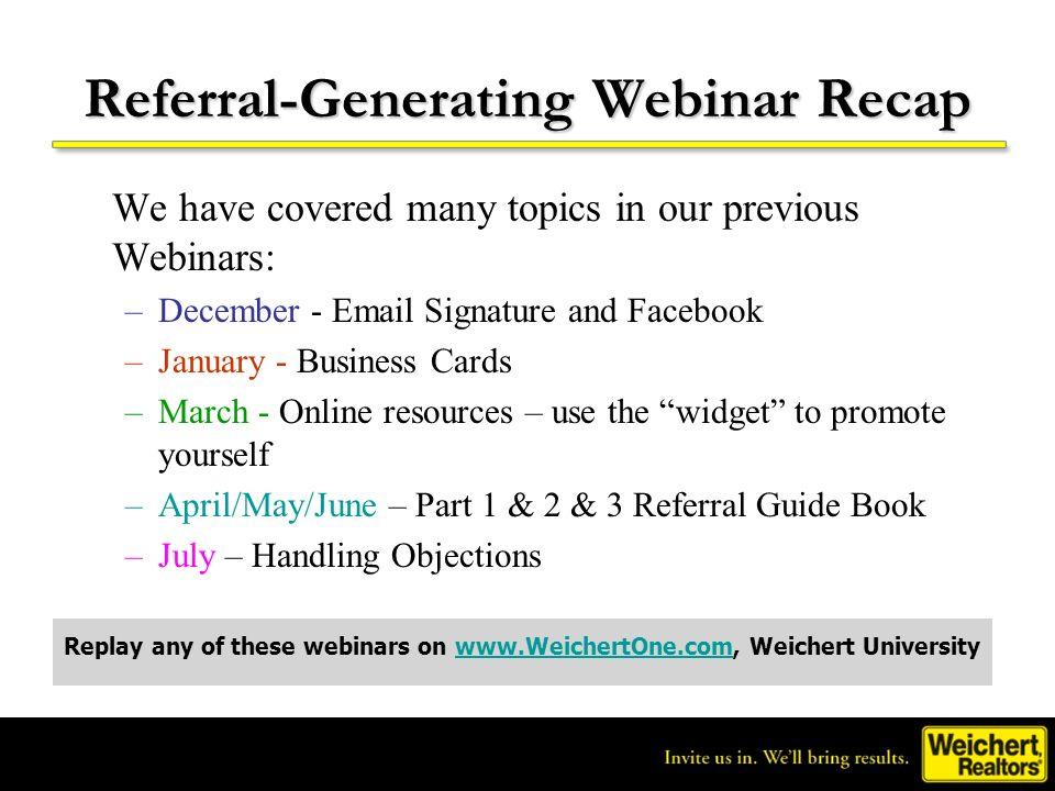 Referral-Generating Webinar Recap