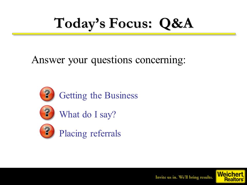 Today's Focus: Q&A Answer your questions concerning: