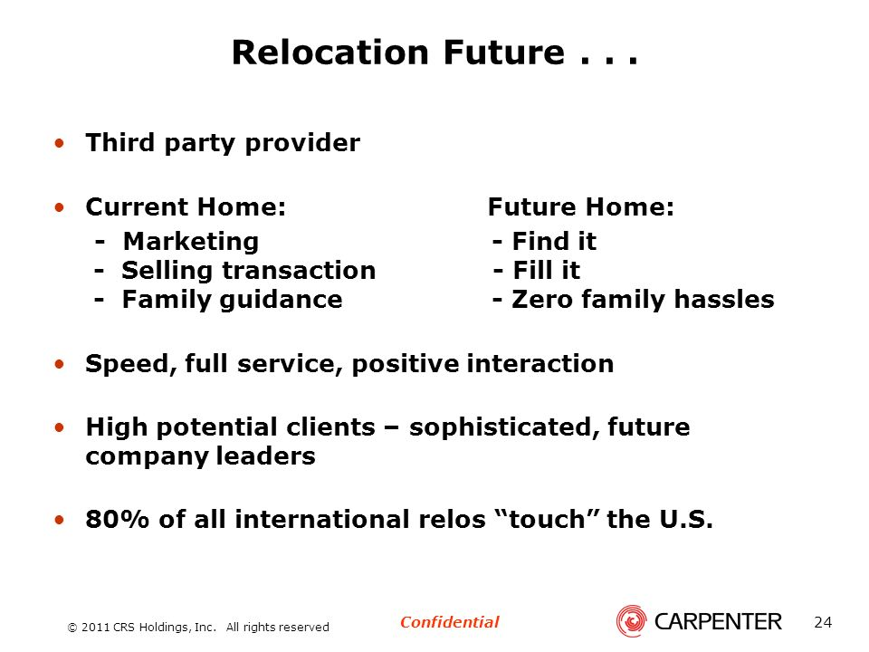 Relocation Future . . . Third party provider