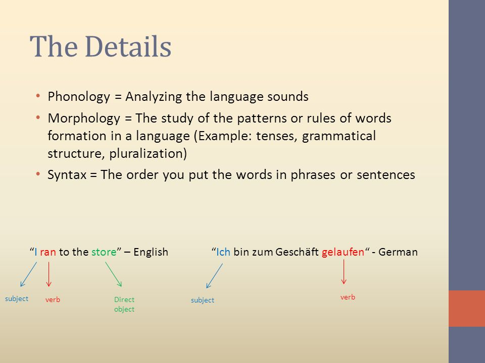 The Details Phonology = Analyzing the language sounds