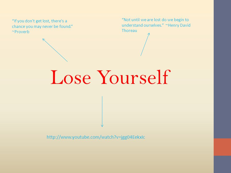 Lose Yourself http://www.youtube.com/watch v=jgg04EekxIc