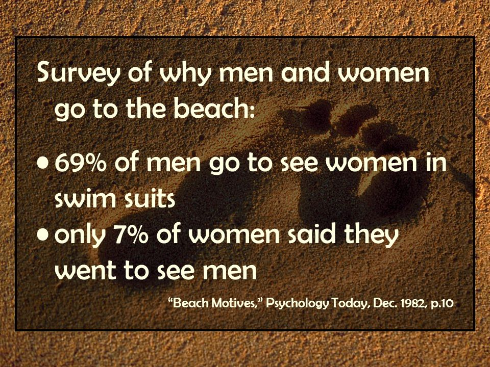 Survey of why men and women go to the beach: