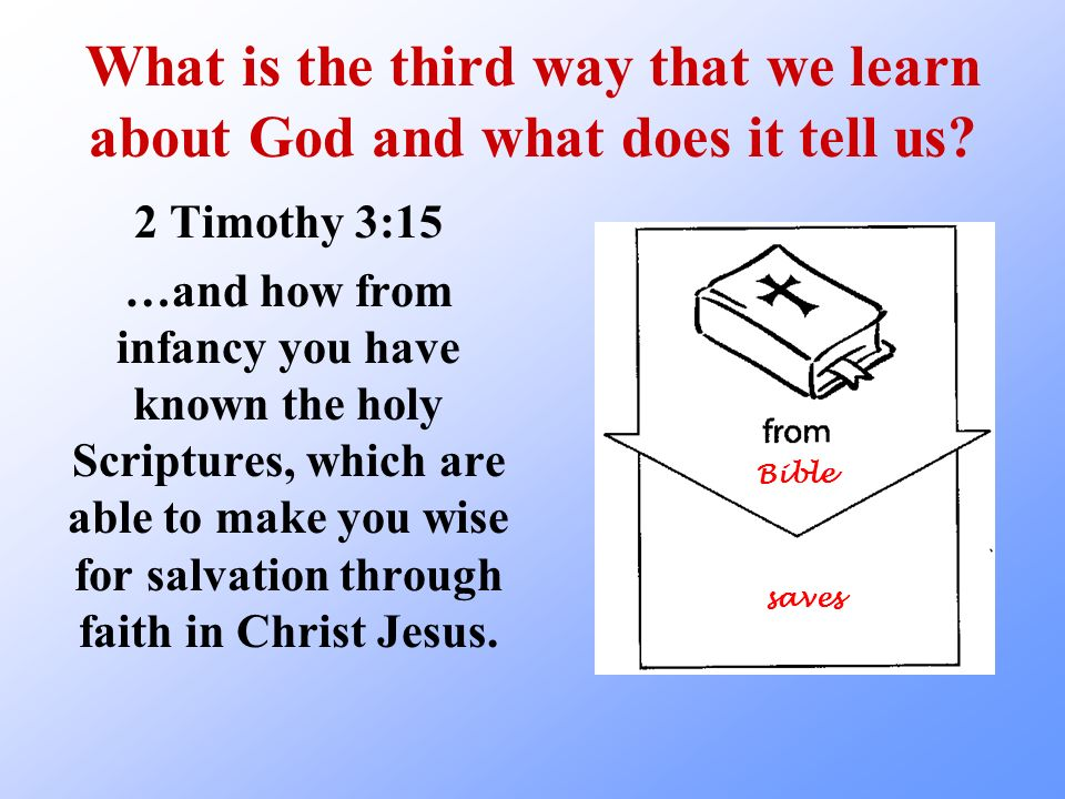 What is the third way that we learn about God and what does it tell us