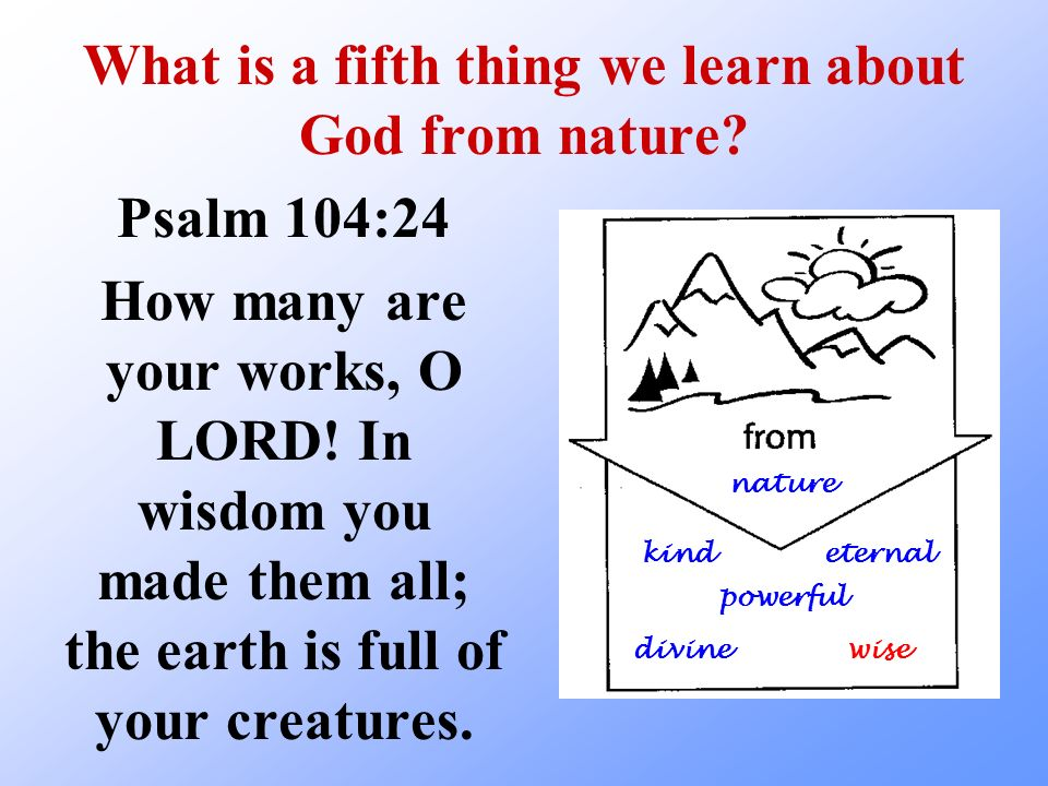 What is a fifth thing we learn about God from nature