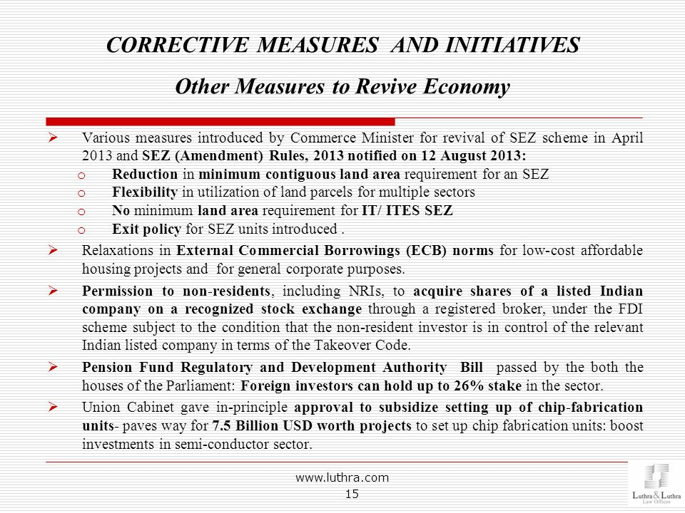CORRECTIVE MEASURES AND INITIATIVES Other Measures to Revive Economy