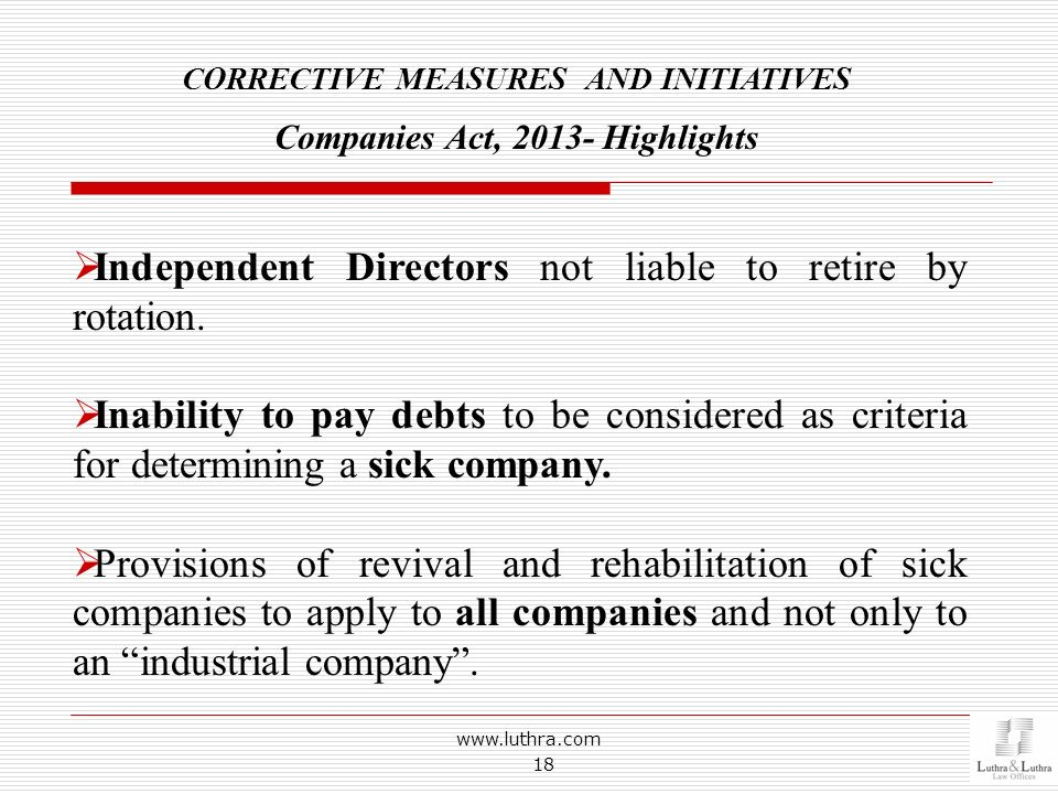CORRECTIVE MEASURES AND INITIATIVES Companies Act, Highlights