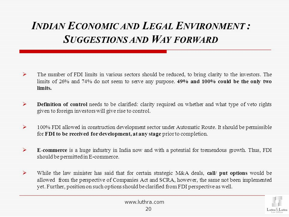 Indian Economic and Legal Environment : Suggestions and Way forward
