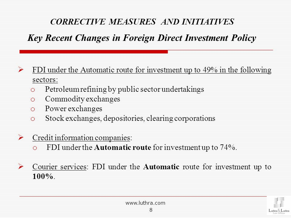 Key Recent Changes in Foreign Direct Investment Policy