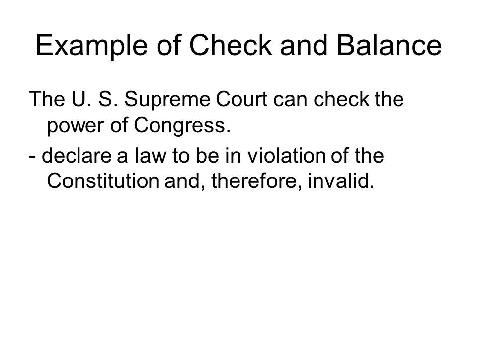 Example of Check and Balance