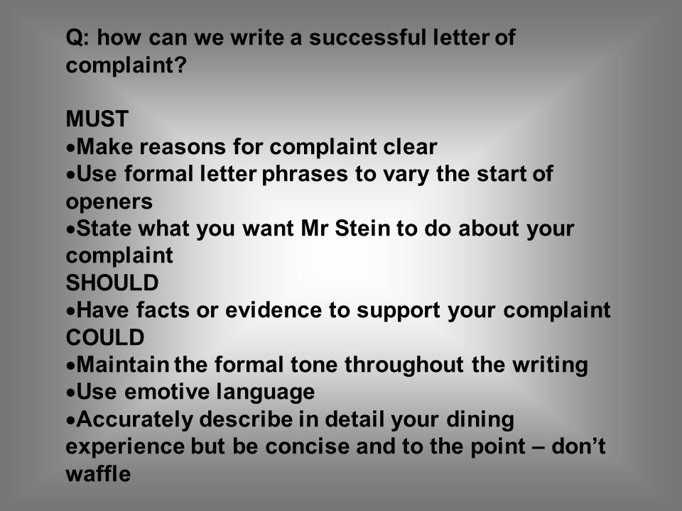 Q: how can we write a successful letter of complaint