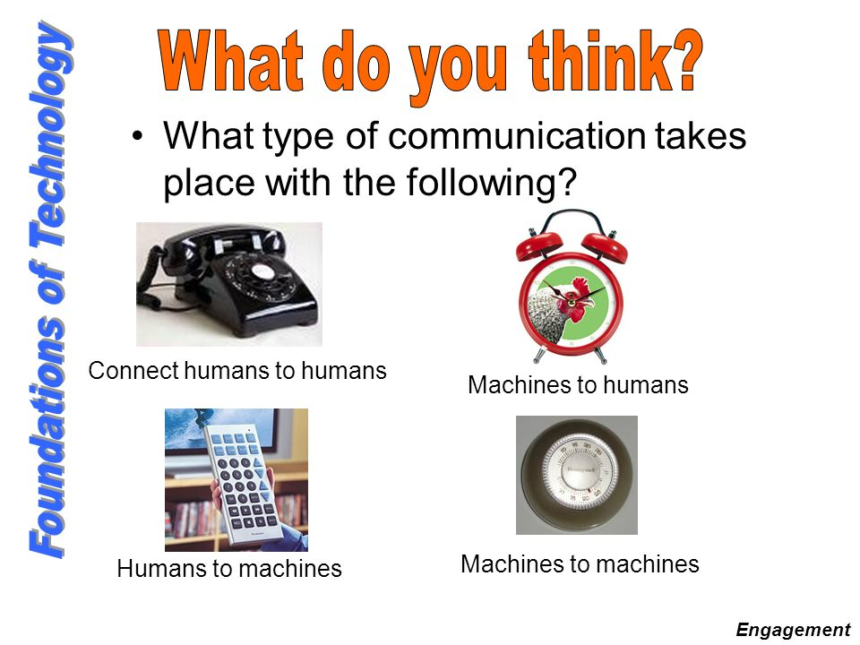 What do you think What type of communication takes place with the following Connect humans to humans.