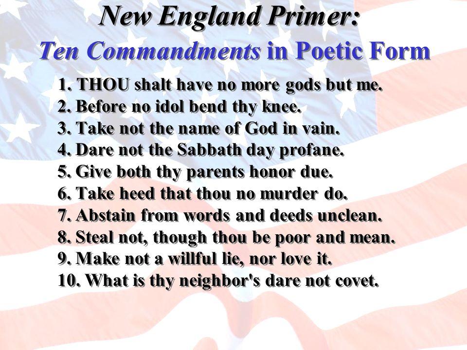 New England Primer: Ten Commandments in Poetic Form