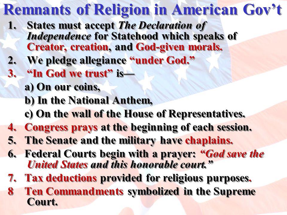 Remnants of Religion in American Gov't