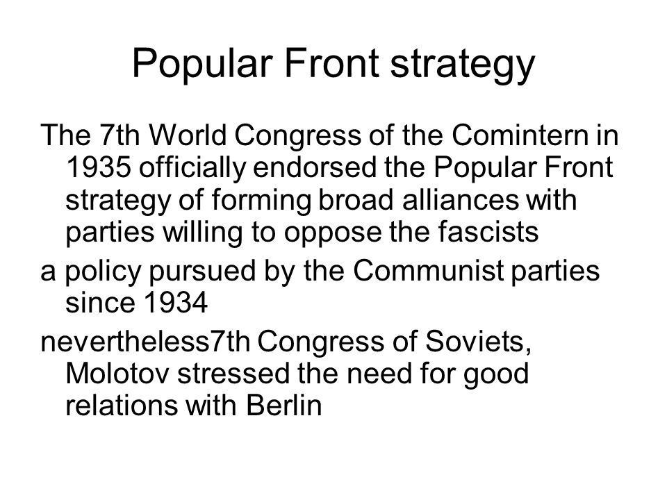 Popular Front strategy