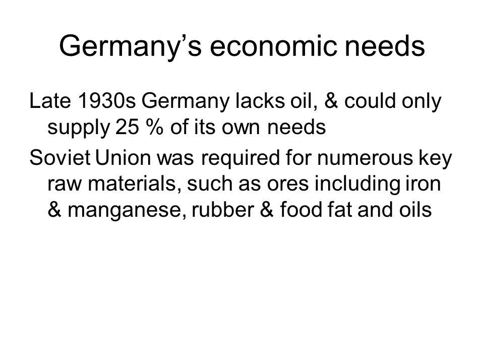 Germany's economic needs