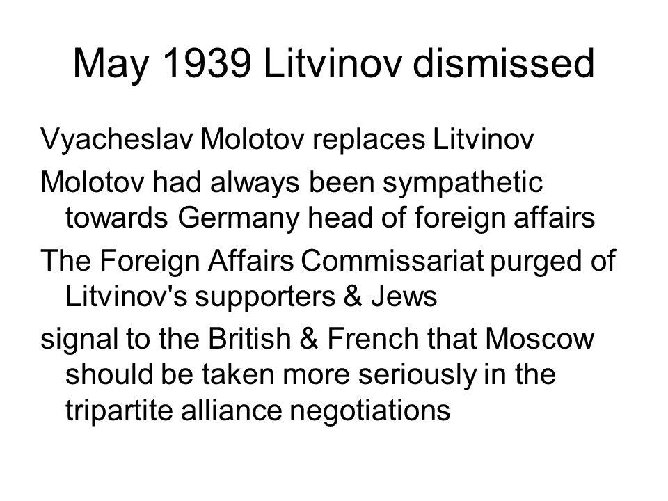 May 1939 Litvinov dismissed