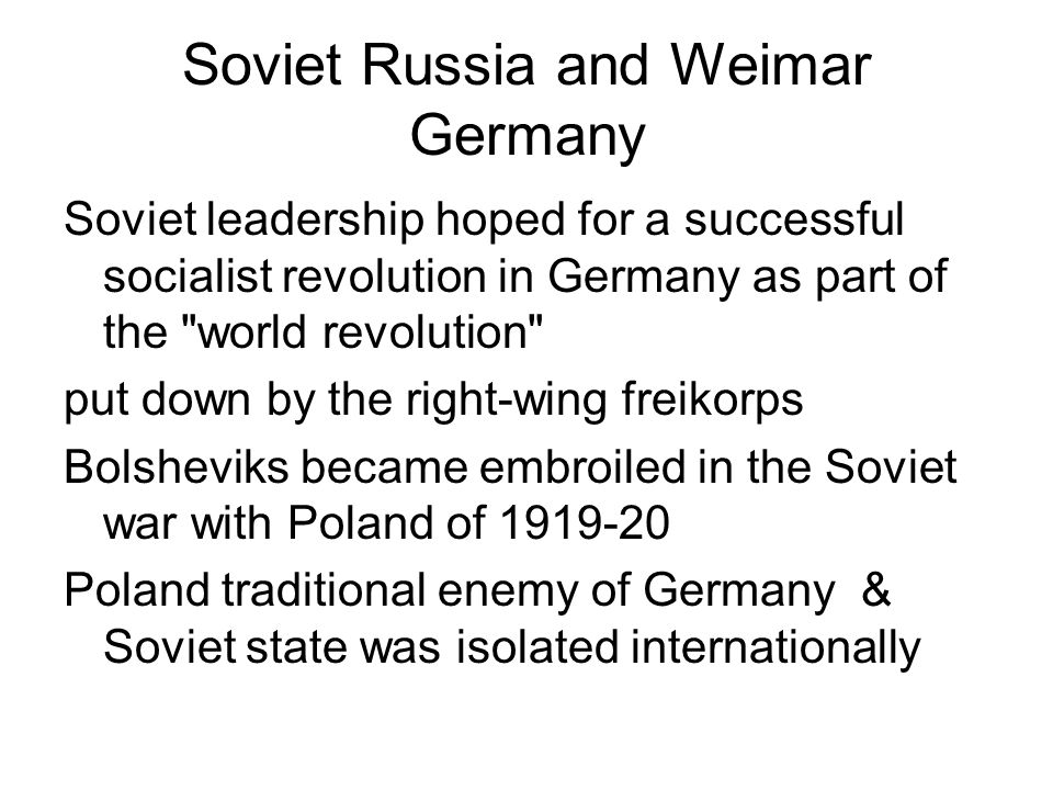 Soviet Russia and Weimar Germany